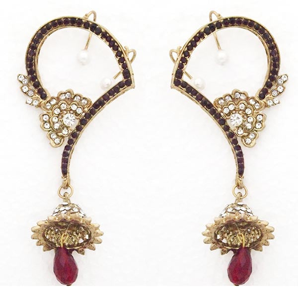 Kriaa Purple Austrian Stone Ear Cuff Earrings