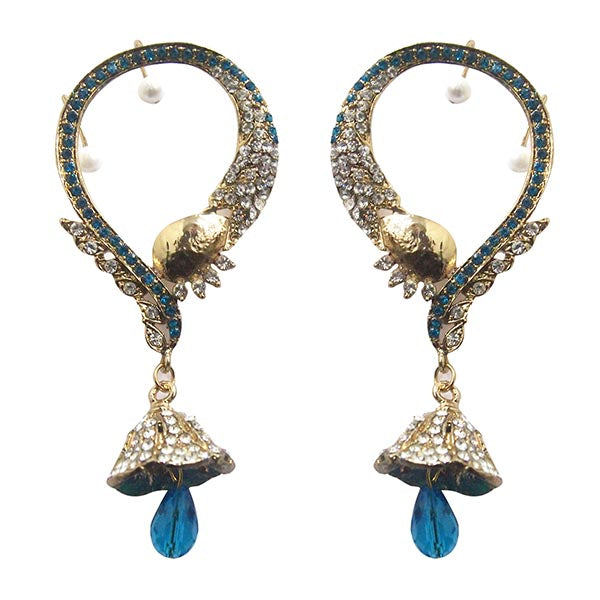 Kriaa Blue Austrian Stone  Ear Cuff Earrings