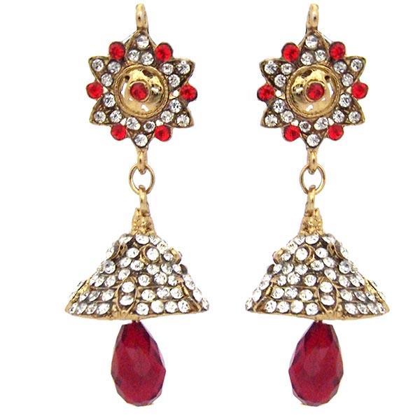 Kriaa Red Austrian Stone Drop Dangler Earrings