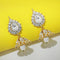 Soha Fashion Austrian Stone Gold Plated Jhumki Earrings - 1300801