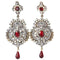Kriaa Gold Plated Austrian Stone Red Drop Dangler Earrings