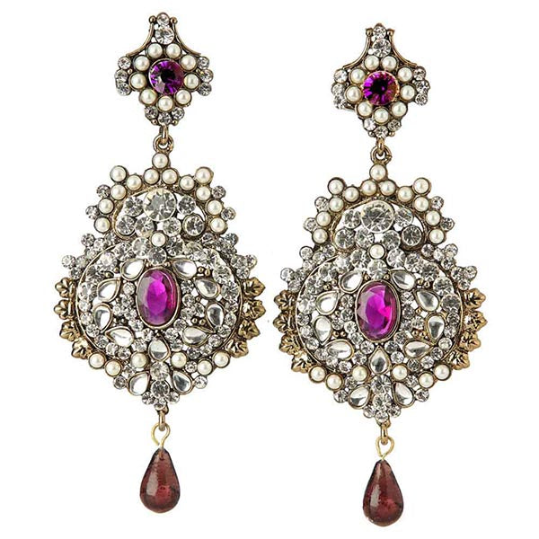 Kriaa Purple Austrian Stone Pearl Dangler Earrings
