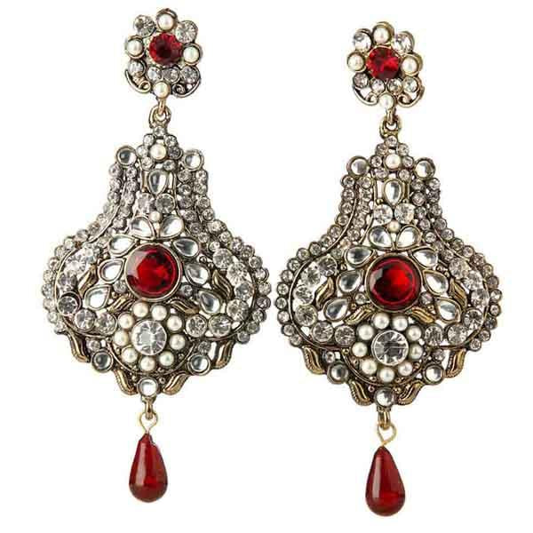 Kriaa Kundan Red Austrian Stone Gold Plated Dangler Earrings