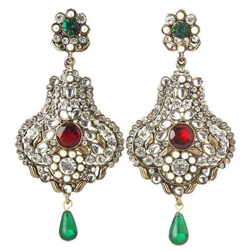 Soha Fashion Austrian Stone  Green Drop Dangler Earrings