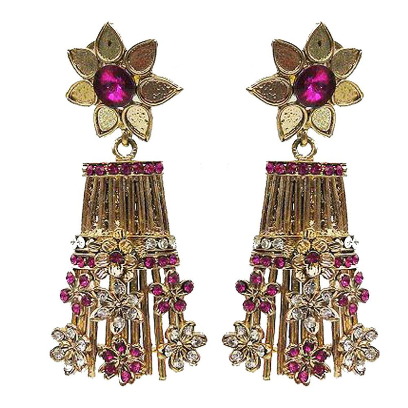 Kriaa Purple Austrian Stone Gold Plated Dangler Earrings
