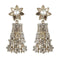 Kriaa White Stone Floral Gold Plated Dangler Earrings