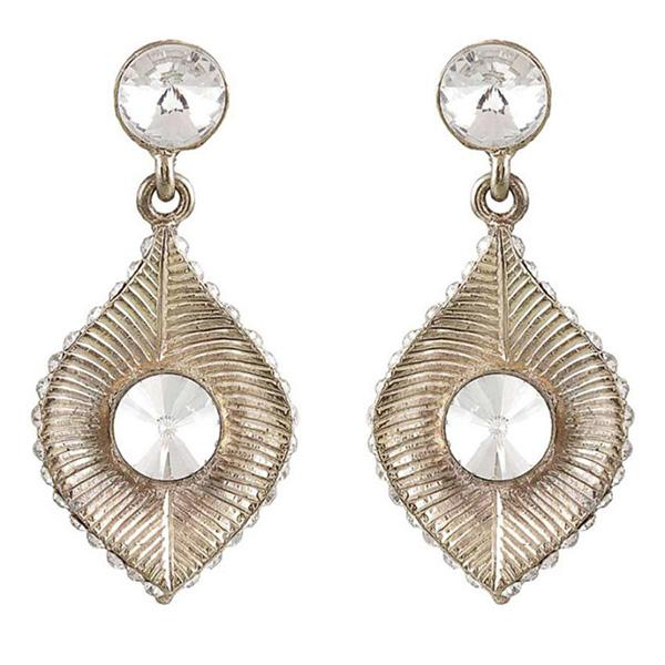 Kriaa Stone Antique Gold Plated Leaf Design Dangler Earrings