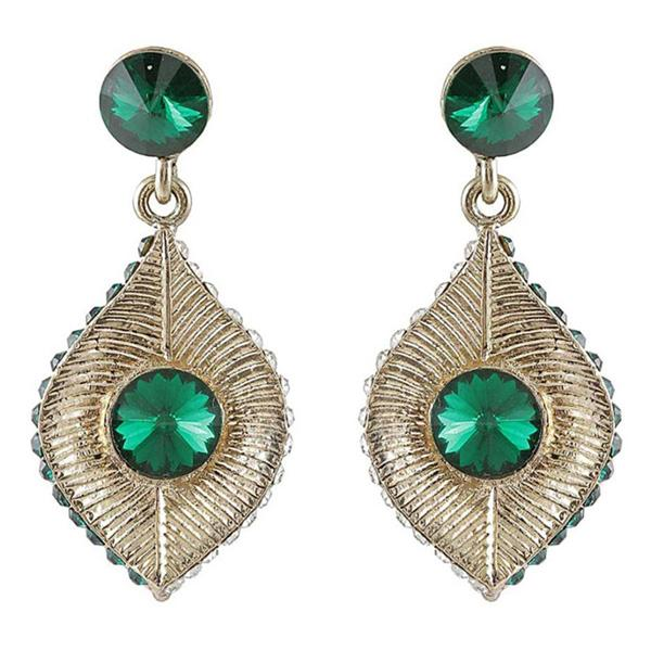 Kriaa Green Stone Antique Gold Plated Dangler Earrings
