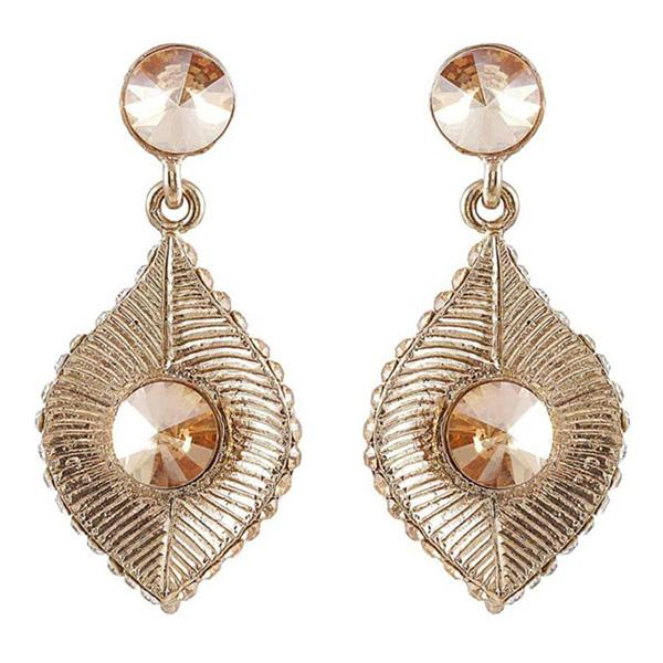 Kriaa Peach Stone Antique Gold Plated Dangler Earrings