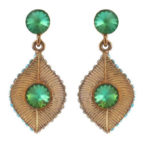 Kriaa Austrian Stone Antique Gold Plated Dangler Earrings