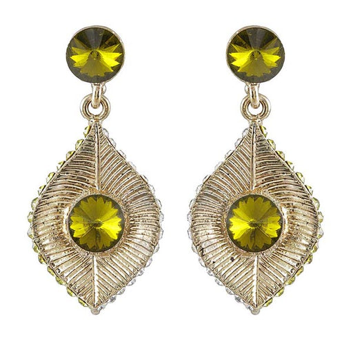 Kriaa Green Austrian Stone Leaf Design Dangler Earrings