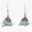 Kriaa Blue Drops Black Oxidised Jhumkis