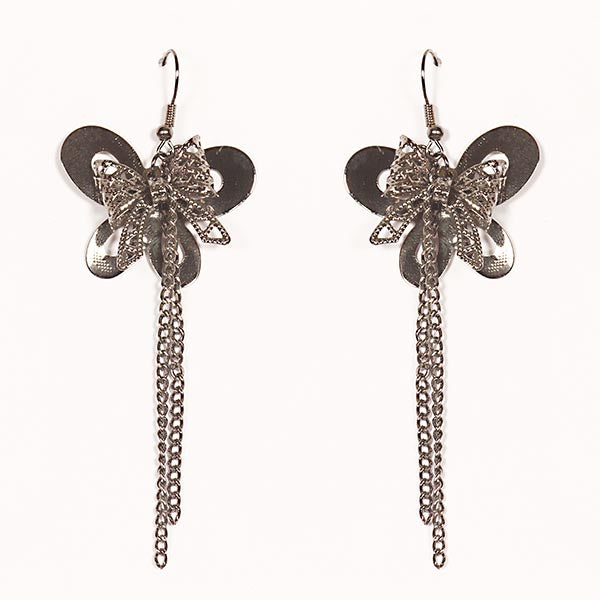 Urthn Butterfly Rhodium Plated  Dangler Earrings