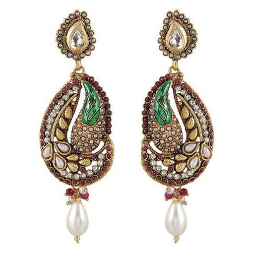 Kriaa Maroon Austrian Stone Pearl Drop Dangler Earrings