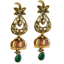 Kriaa Gold Plated Green Stone Drop Dangler Earrings