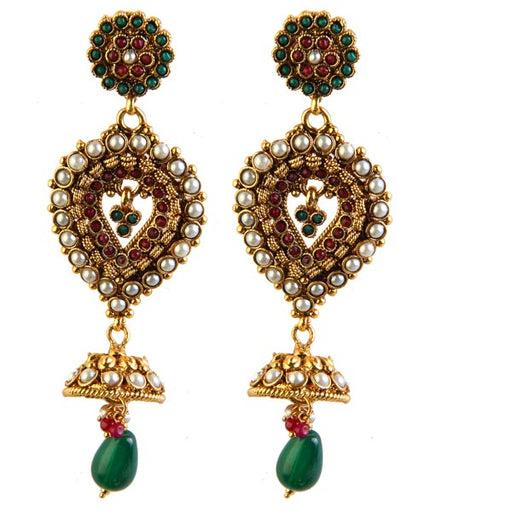 Soha Fashion Green Austrian Stone Dangler Earrings