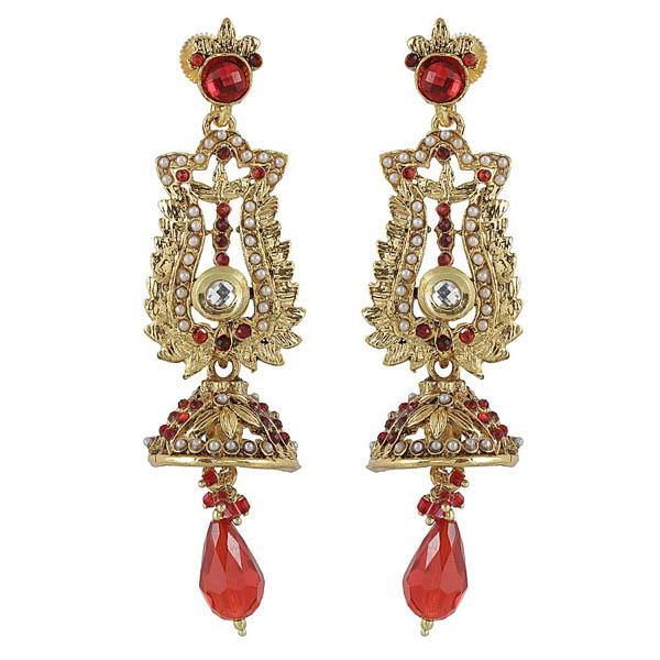 Kriaa Red Austrian Stone Antique Gold Plated Dangler Earrings