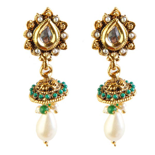 Kriaa Kundan Green Pota Stone Pearl Drop Jhumki Earrings