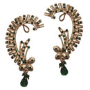 Kriaa Gold Plated Green Austrian Stone Drop Ear Cuff