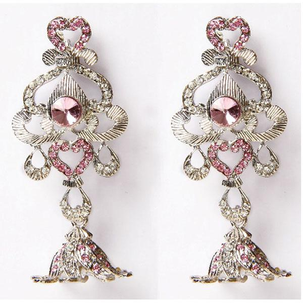 Kriaa Pink Austrian Stone Silver Plated Dangler Earrings