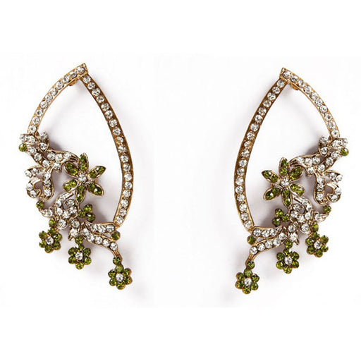Kriaa Green Austrian Stone Floral Gold Plated Dangler Earrings