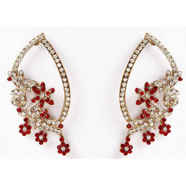 Kriaa Red Austrian Stone Floral Gold Plated Dangler Earrings
