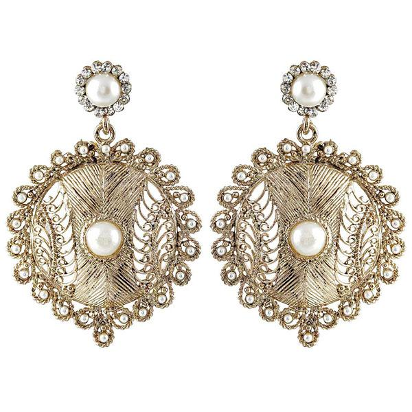 Kriaa Pearl Antique Gold Plated Dangler Earrings