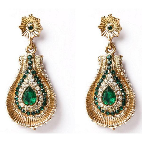 Kriaa Kundan Austrian Stone Gold Plated Dangler Earrings