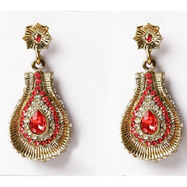Kriaa Gold Plated Red Austrian Stone Dangler Earrings