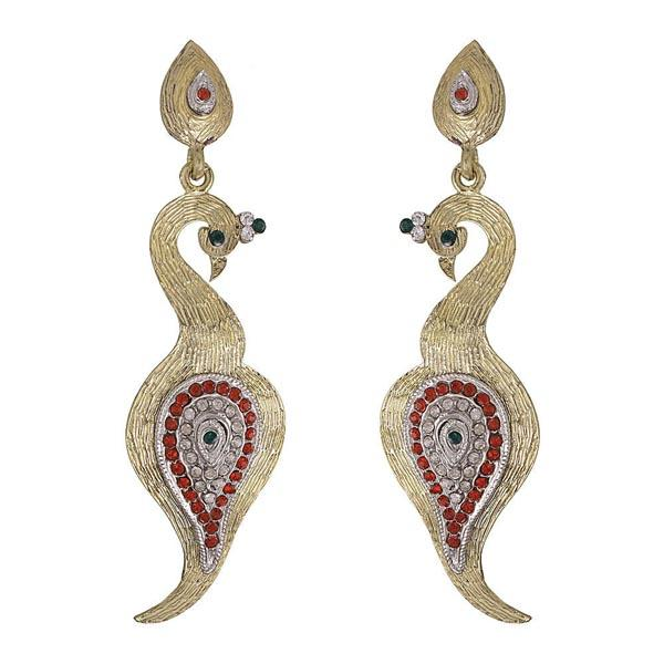 Kriaa Red Austrian Stone Peacock Gold Plated Dangler Earrings