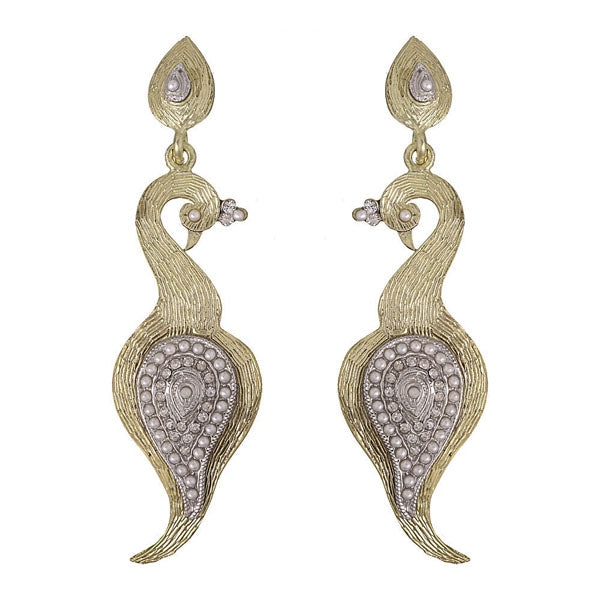 Kriaa White Austrian Stone Gold Plated Peacock Dangler Earrings