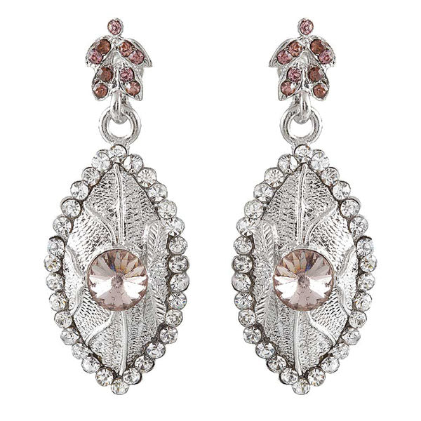 Kriaa Brown Austrian Stone Rhodium Plated Dangler Earrings