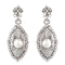 Kriaa White Austrian Stone Pearl Rhodium Plated Dangler Earrings
