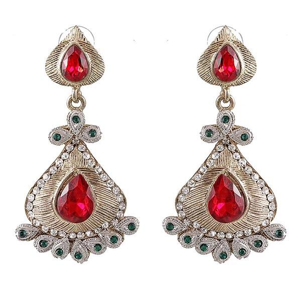 Kriaa Red Austrian Stone Gold Plated  Dangler Earrings