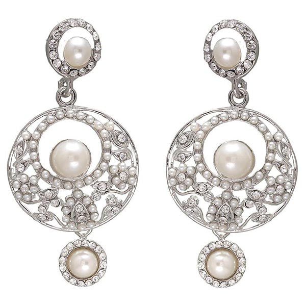 Kriaa  Silver Plated  Pearl Dangler Earrings