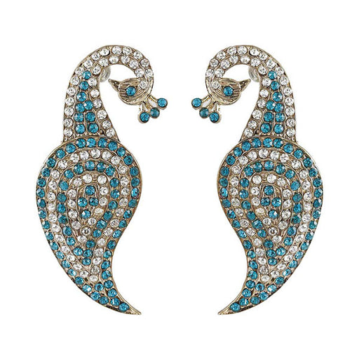 Kriaa Blue Austrian Stone Gold Plated Peacock Dangler Earrings