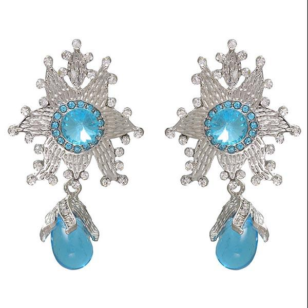Kriaa  Silver Plated  Blue Austrian Stone Dangler Earrings