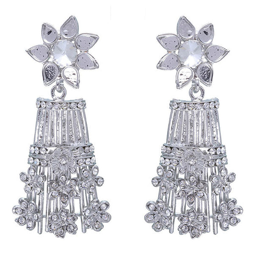 Kriaa Austrian Stone Silver Plated Floral Design Dangler Earrings