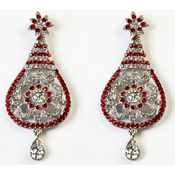 Kriaa Red Austrian Stone Rhodium Plated Dangler Earrings