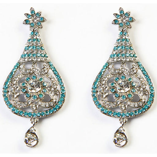 Kriaa Blue Austrian Stone Rhodium Plated Dangler Earrings