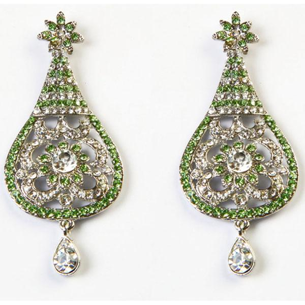 Kriaa Green Austrian Stone Rhodium Plated Dangler Earrings