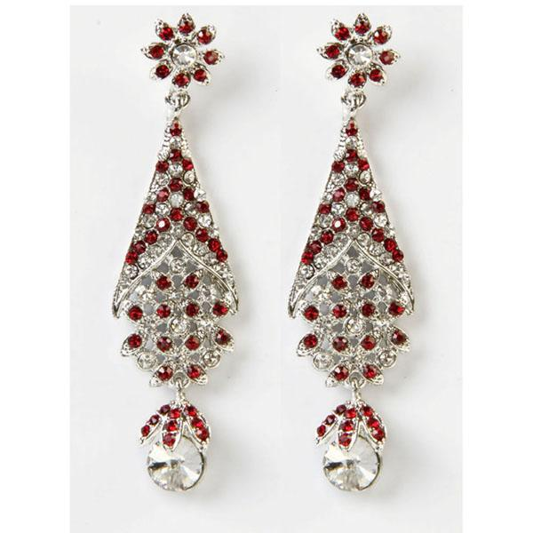 Kriaa Red & White Austrian Stone Stud  Earrings
