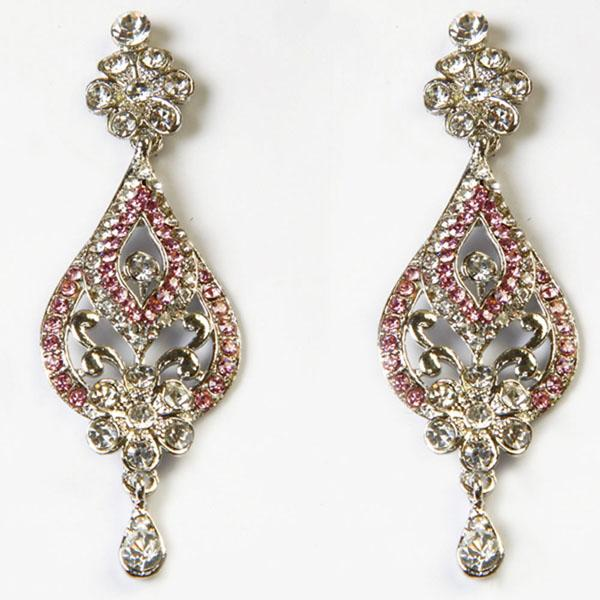 Kriaa Pink Austrian Stone Rhodium Plated Dangler Earrings
