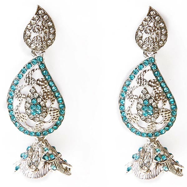 Kriaa Blue Austrian Stone Silver Plated  Dangler Earrings