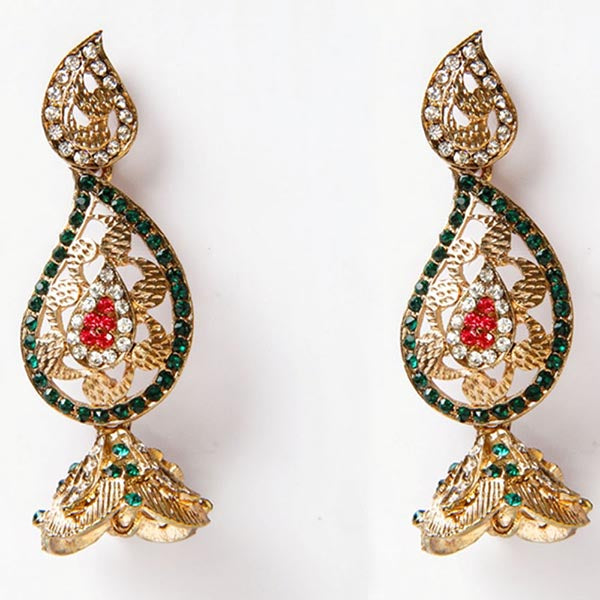 Kriaa Gold Plated  Green Austrian Stone Dangler Earrings