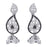Kriaa Black Austrian Stone Silver Plated  Dangler Earrings