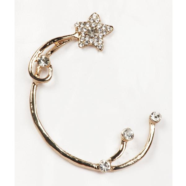 Urthn White Austrian Stone Gold Plated Single Ear Cuff