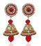 Kriaa Red Austrian Stone Gold Plated Jhumki Earrings - 1302603