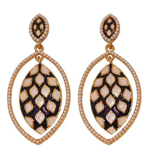 Kriaa Gold Plated Meenakari Pearl Dangler Earrings