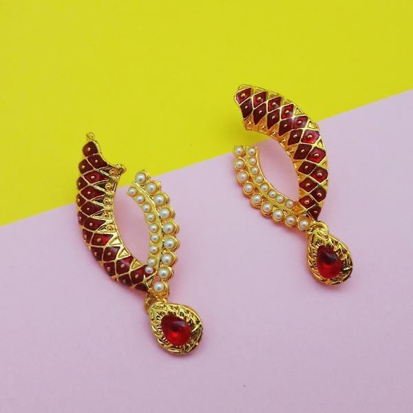 Kriaa Gold Plated Meenakari Red Austrian Stone Dangler Earrings